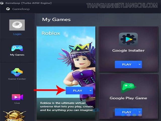 Nhấn play để chơi sau khi game đã cài đặt xong