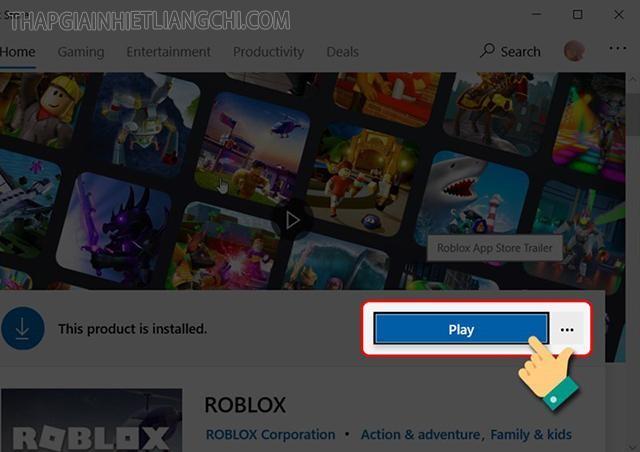 họn Play để truy cập vào trò chơi.