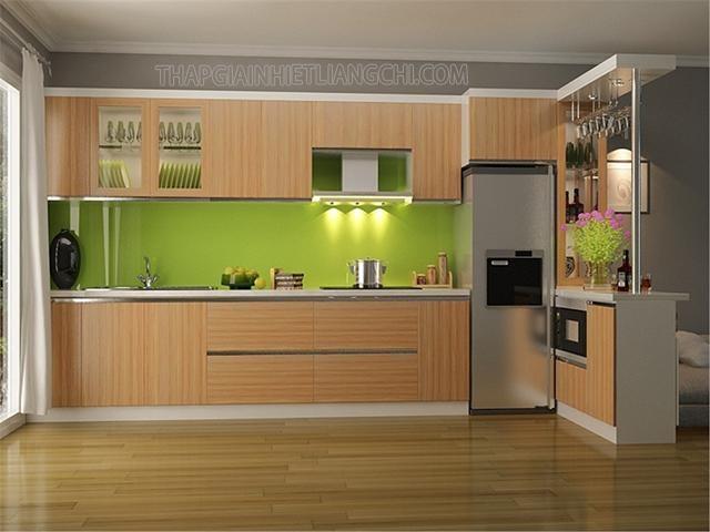 Tủ bếp được thiết kế chế tạo từ gỗ MFC phủ Melamine.
