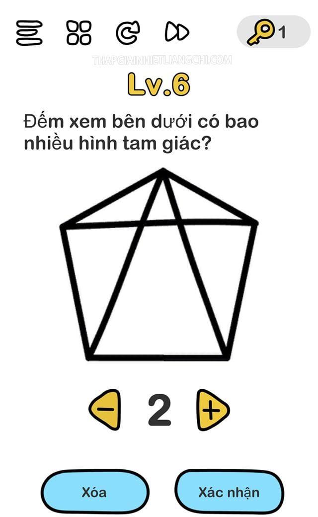 Đáp án Brain Out level 6 có 11 hình tam giác